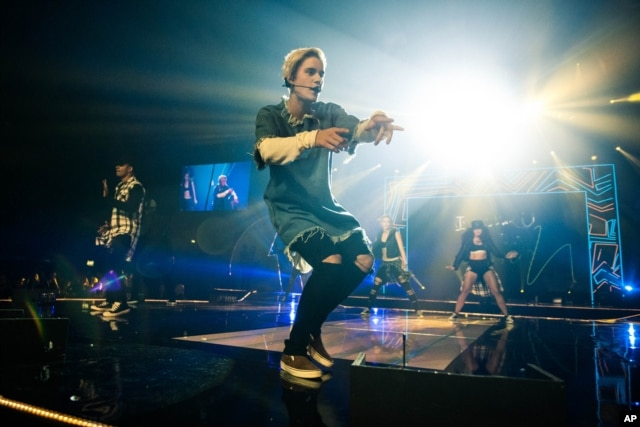 FILE - Justin Bieber performing at the BBC Radio 1 Teen Awards.