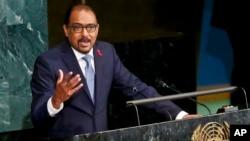 Direktur Eksekutif UNAIDS, Michel Sidibé berbicara dalam pertemuan tingkat tinggi untuk mengakhiri penyakit HIV/AIDS tahun 2030, Rabu (8/6).