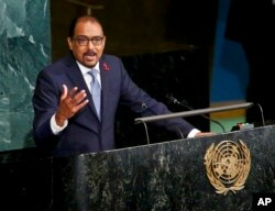 UNAIDS Executive Director Michel Sidibé addresses the opening of the U.N. General Assembly high-level meeting on ending AIDS, June 8, 2016.