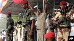 Le président tchadien Idriss Deby Itno lors d'une campagne électorale à Ndjamena en 2012. (Photo AP)