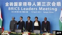 Лидеры стран БРИКС на саммите в Китае. 14 апреля 2011 года
