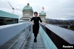 Swiss President Doris Leuthard is pictured on top of a roof next to the Swiss Parliament in Bern, Feb. 24, 2017. Leuthard said she still sees gender inequality occur in the workplace.