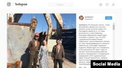 Russia - Elizaveta Peskova, daughter of Dmitry Peskov, at a shipbuilding yard in Sevastopol