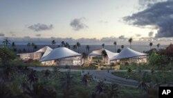 Gambar ini adalah salah satu proposal rencana lokasi perpustakaan Obama yang diajukan oleh kelompok dari Hawaii (foto:dok).