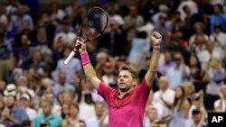 Stan Wawrinka, of Switzerland, reacts after beating Novak Djokovic, of Serbia, to win the men's singles final of the U.S. Open tennis tournament, Sunday, Sept. 11, 2016.