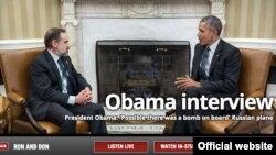 바락 오바마 미국 대통령(오른쪽)이 5일 미국의 라디오 방송과 인터뷰하고 있다.