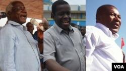 Afonso Dhlakama, Daviz Simango e Filipe Nyusi, candidatos à Presidência de Moçambique, para as eleições 2014