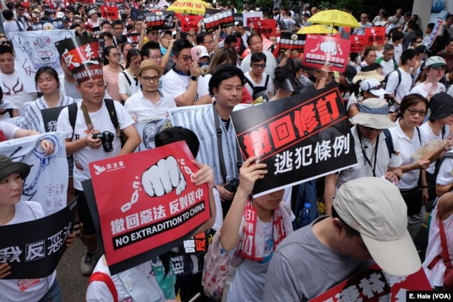 Many protesters called for Chief Executive Carrie Lam's resignation on Sunday at a demonstration against extradition to China.