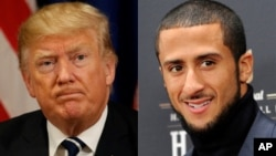 From left, President Donald Trump, former San Francisco 49er player Colin Kapernick.