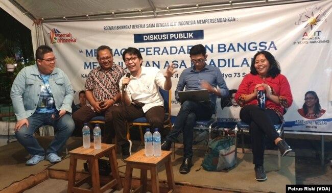 Para pembicara diskusi publik yang diadakan Roemah Bhinneka dan ALIT, menyoroti persoalan bangsa pasca penetapan kabinet Indonesia Maju