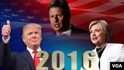 نامزدهای احزاب اصلی در انتخابات ریاست جمهوری ۲۰۱۶ آمریکا، از چپ به راست: دونالد ترامپ، گری جانسون، هیلاری کلینتون