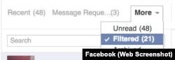 Facebook Filtered Messages Menu