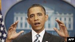 Президент США Барак Обама на пресс-конференции о дефолте