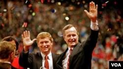 老布什1988年和竞选伙伴丹.奎尔
