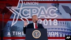 """美國總統川普在華盛頓舉行的保守派政治行動大會上發表講話。他說:""""我們實施了歷來最嚴厲的制裁。"""""""