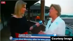 Reporter Alison Parker, left, is seen interviewing Vicki Gardner shortly before both were shot on live television in Roanoke, Virginia, Aug. 26, 2015.