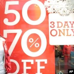 五角大楼购物中心店面橱窗感恩节商品大减价