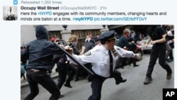 """Una de las imágenes difundidas por Twitter data de las protestas """"Ocupemos Wall Street"""" en Nueva York."""