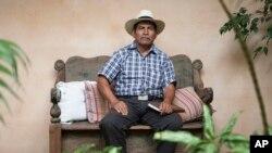 Maya Q'eqchi leader Rodrigo Tot poses for photos during an interview in Guatemala City, April 18, 2017.