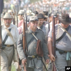 These re-enactors are portraying Confederate soldiers from the old American South.