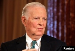 FILE - Former U.S. Secretary of State James Baker