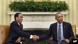 美国总统奥巴马在白宫会晤印尼总统佐科·维多多。(2015年10月26日)