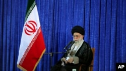 In this picture released by an official website of the office of the Iranian supreme leader, Supreme Leader Ayatollah Ali Khamenei delivers his speech in a ceremony marking 27th death anniversary of founder of the Islamic Republic, Ayatollah Khomeini at his shrine just outside Tehran, Iran on June 3, 2016.
