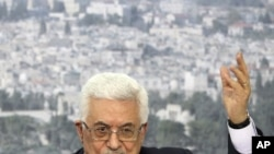 Palestinian President Mahmoud Abbas speaks about his bid for Palestinian statehood recognition at the United Nations next week, during a televised speech in Ramallah, Sep 16, 2011.