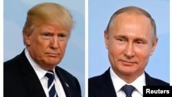 دونالد ترامپ رئیس جمهوری ایالات متحده (چپ) و ولادیمیر پوتین رئیس جمهوری روسیه