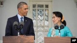 奥巴马总统与昂山素季会谈后举行联合新闻发布会