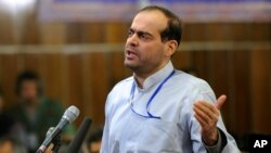 FILE: Billionaire Mahafarid Amir Khosravi, executed Saturday, spoke at his trial in Tehran, Iran, on Feb. 18, 2012.