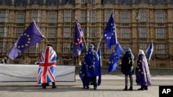 Pro-EU membership supporters hold European Union flags as they protest against Brexit across the street from the Houses of Parliament in London, Tuesday, Jan. 30, 2018.