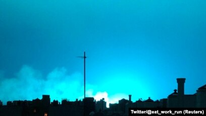 that bright blue light over new york not space aliens