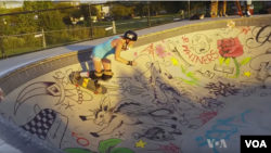 Stephanie Murdock at a skate park