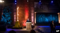 Israeli Prime Minister Benjamin Netanyahu speaks during the Holocaust Remembrance Day ceremony at the Yad Vashem Holocaust memorial in Jerusalem, Wednesday, April 11, 2018.