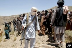 FILE - Taliban fighters are seen in Shindand district of Herat province, Afghanistan, May 27, 2016. According to U.S. military assessments, Taliban-led militants currently control or contest 44 percent of Afghan territory.