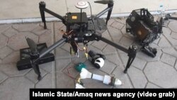 Islamic State's Amaq news agency posted video of what it said were captured drones of Iraqi forces.