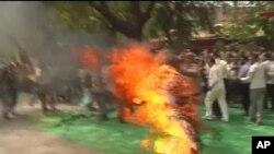 流亡藏人绛白叶西3月26日在印度首都新德里自焚,抗议中国西藏政策和中国国家主席胡锦涛访问印度