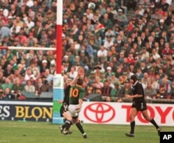 Springbok player, Joel Stransky (number 10), kicks the goal that won the World Cup for South Africa … The Springbok rugby team later said Mandela had inspired them to victory