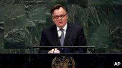 Duta Besar PBB untuk Kanada menyampaikan pidato di sidang ke-73 Majelis Umum PBB di markas PBB, Senin, 1 Oktober 2018.