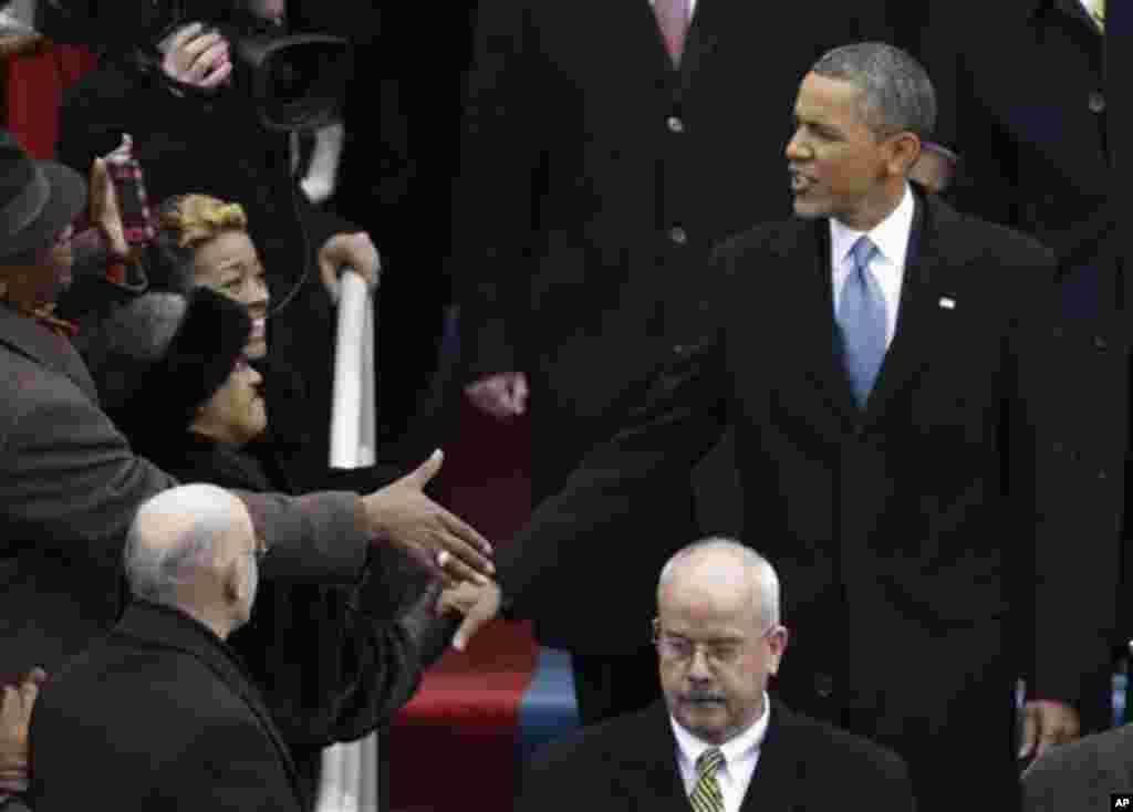 21일 미국 바락 오바마 대통령 2기 취임식이 국회의사당에서 열린 가운데, 취임식장에 입장하는 오바마 대통령.