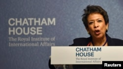 U.S. Attorney General Loretta Lynch speaks at a 'Countering Terrorism: A Global Perspective' event at Chatham House in London, Dec. 9, 2015.