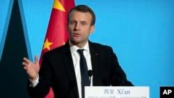法国总统马克龙在中国西安对商界和学界人士以及学生发表讲话。(2017年1月8日)