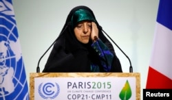 FILE - Vice President of the Islamic Republic of Iran Masoumeh Ebtekar delivers a speech during the opening session of the World Climate Change Conference 2015 (COP21) at Le Bourget, near Paris, France, Nov. 30, 2015.
