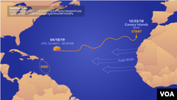 Frenchman Jean-Jacques Savin posted on his Facebook page that he was just 750 kilometers from the island of St. Martin. He set sail for the Caribbean Dec. 26, leaving from El Hierro in Spain's Canary Islands.