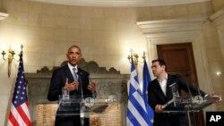 Tổng thống Mỹ Barack Obama và Thủ tướng Hy Lạp Alexis Tsipras trong một cuộc họp báo chung ở Athens, 15/11/2016.