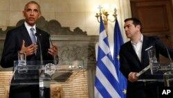 El presidente Obama dio una conferencia de prensa conjunta con el ministro griego, Alexis Tsipras, en Atenas.