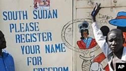 Affiches d'artistes sud-soudanais exhortant la population à s'inscrire sur les listes pour le référendum du 9 janvier (Archives)
