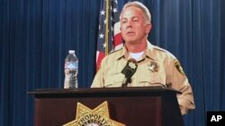 FILE - Clark County Sheriff Joe Lombardo speaks at a press conference, June 5, 2017, in Las Vegas, Nev.