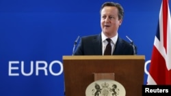 Britain's Prime Minister David Cameron addresses a news conference during a European Union leaders summit in Brussels, Belgium, March 20, 2015.